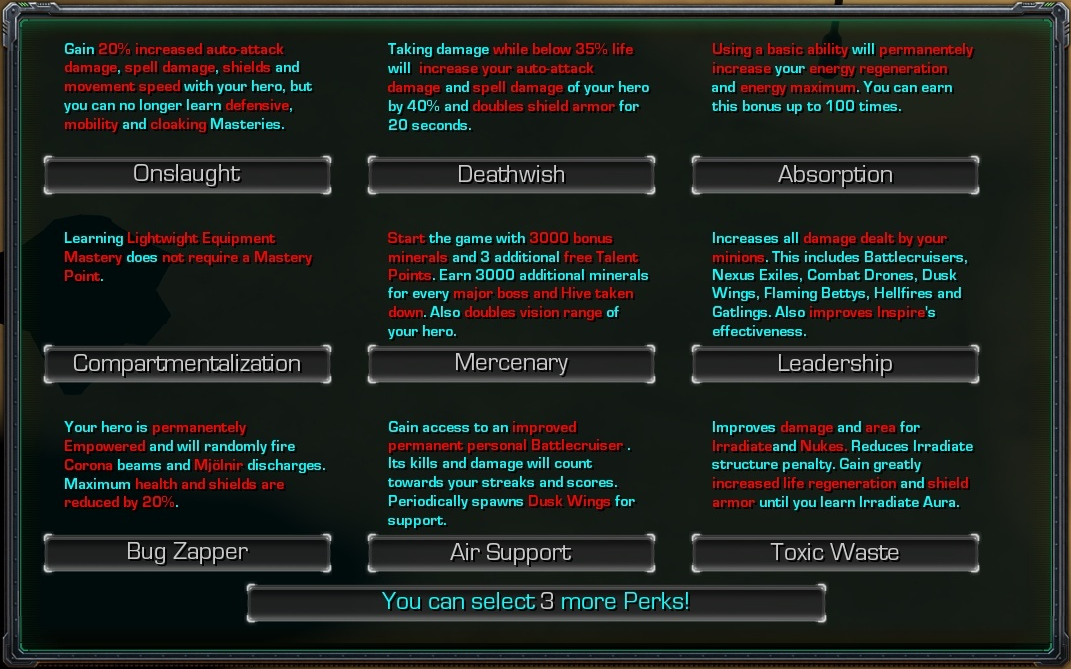 Crap Patrol 2 Perk Selection Screen